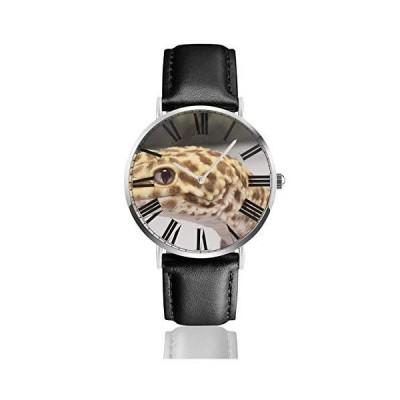 腕時計 ヒョウモントカゲモドキ ウオッチ クラシック カジュアル 防水 クォーツムーブメント レザー ベルトビ