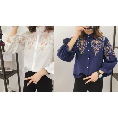 シャツ ブラウス 刺繍ブラウス マオカラーシャツ スタンドカラーシャツ レディース 長袖 花柄 刺繍
