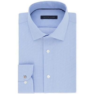 トミー ヒルフィガー シャツ トップス メンズ Men's Slim-Fit Non-Iron Performance Stretch Check Dress Shirt Stream