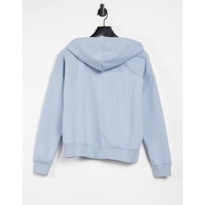 オンリー レディース パーカー・スウェットシャツ アウター Only hoodie co-ord with college logo in blue Blues