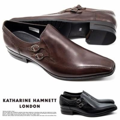 キャサリンハムネット ビジネスシューズ 靴 革靴 紳士靴 メンズ 本革 スリッポン ベルト ストラップ マッケイ 31645