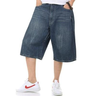 ハーフパンツ メンズ デニムショートパンツ ルーズフィット ストリート系 ヒップホップ 夏 サマーファッション 半ズボン ジーンズ ショーツ大きいサイズ