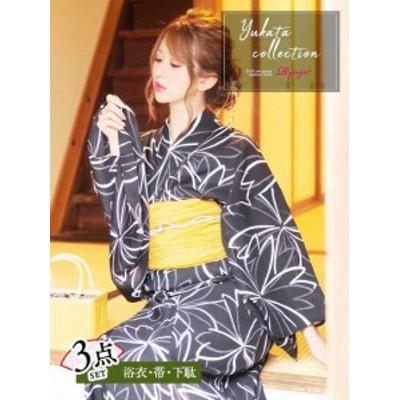 浴衣 セット レディース ゆかた 帯 下駄 キャバ Ryuyu 黒 ゆかた 桜 モノトーン浴衣