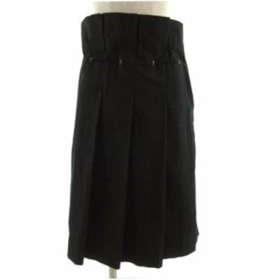 【中古】ツモリチサト TSUMORI CHISATO スカート ギャザースカート ミディ丈 ハイウエスト調 日本製 黒 S レディース