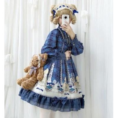ロリータワンピース ワンピース 二次元衣装 可愛いドレス 萌え萌え 長袖 lolita コスプレドレス レーススカラップ 女子高校生