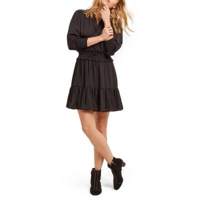 レベッカミンコフ レディース ワンピース トップス Chloe Button Front Mini Dress BLACK