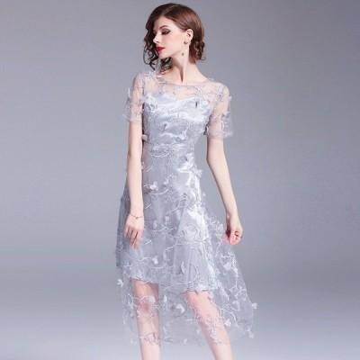 即納 パーティードレス 結婚式 二次会 お呼ばれ シースルー 透け感 刺繍 ブライダル ディナー Mシルバーグレー
