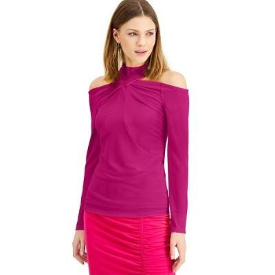アイエヌシーインターナショナルコンセプト カットソー トップス レディース INC Twisted Cold-Shoulder Top, Created for Macy's Jazzy Pink