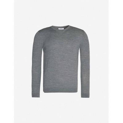 リース REISS メンズ ニット・セーター トップス Wessex rib-trimmed wool-knit jumper Mid grey melang