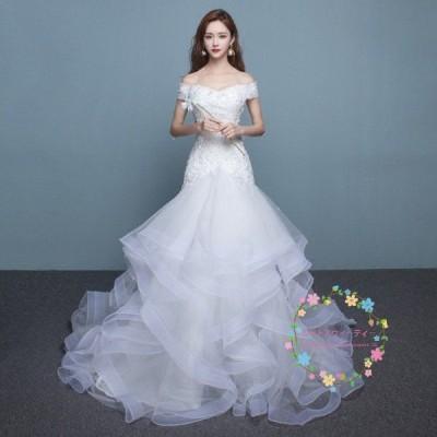 ウエディングドレス マーメイドラインドレス 白 ベアトップ 二次会ドレス 半袖 安い 花嫁 結婚式 ロングドレス ロング ウェディングドレス wedding dress