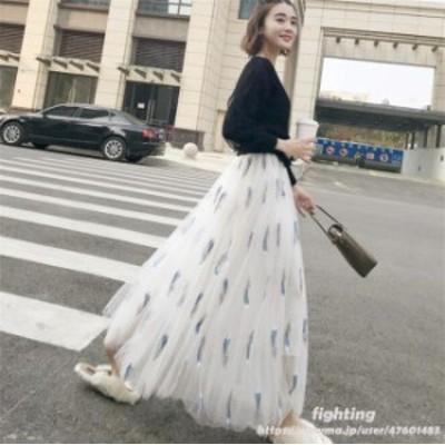 レディース チュールスカート 裏地付き フレアスカート ロング マキシ丈 ゴムウエスト ボリューム ドレス おしゃれ  韓国ファッション