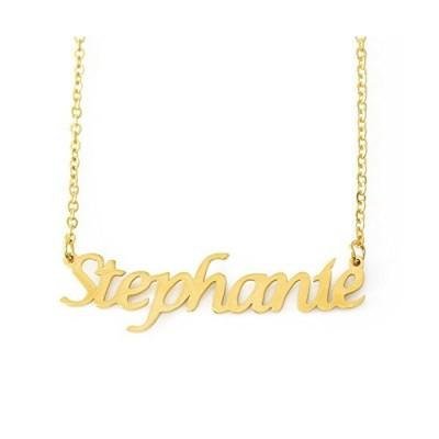 Zacria Stephanie ネームネックレス 18カラット ゴールドメッキ 上品なネックレス - 女性/ガールフレンド/母親/姉妹/友人へのジュ