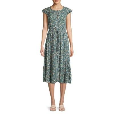 ラッキーブランド レディース ワンピース トップス Felicia Floral Button-Front Dress Green Multi