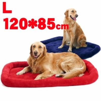 ペット マット ベッド 小型犬/中型犬/大型犬 シンプル 安眠 ベーシック 無地 ソファー 通年利用 フリース素材 レッド ブルー L 120*85cm