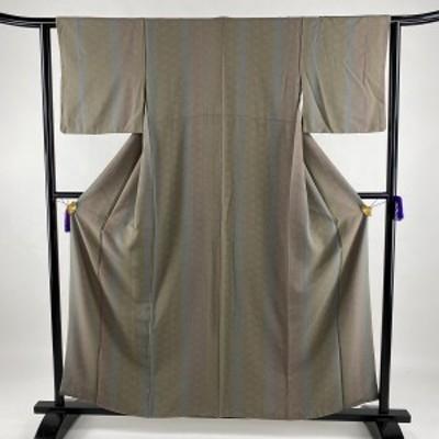 小紋 美品 秀品 麻の葉 縞 灰緑 袷 身丈159cm 裄丈62.5cm S 正絹 中古