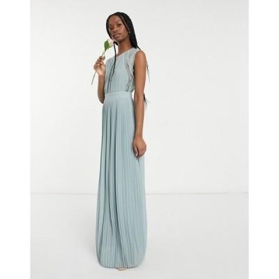 ティエフエヌシー レディース ワンピース トップス TFNC bridesmaid lace insert plunge front maxi dress in sage Sage