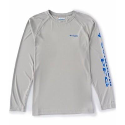 コロンビア メンズ シャツ トップス PFG Terminal Tackle Heather Long-Sleeve Rashguard Tee Cool Grey Heather/Vivid Blue Logo