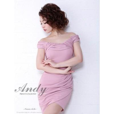 ドレス キャバ キャバドレス ワンピース Andy ワンカラー オフショル ラップ風 タック タイト ミニドレス S M ピンク 青 白 黒 シ