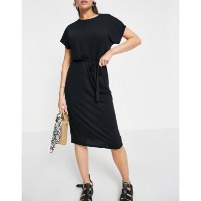 ジェイディーワイ JDY レディース ワンピース ミドル丈 ワンピース・ドレス tie waist jersey midi dress in black melange ブラック