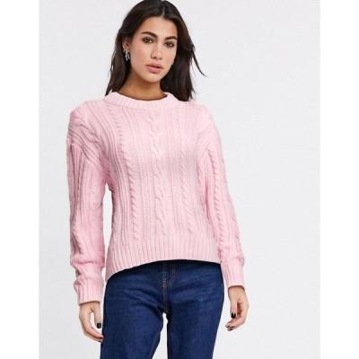 モンキ レディース ニット&セーター アウター Monki cable knit sweater Pink