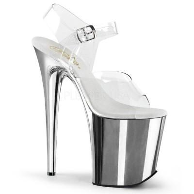 取寄せ靴 新品 衣装靴 ベルト付き 大人気 超厚底サンダル 20.5cmピンヒール クリア 銀 シルバー クロム
