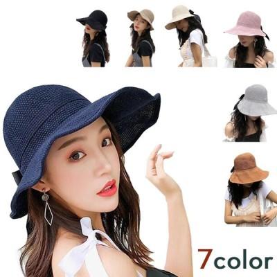 帽子 レディース 夏 麦わら帽子 UV 折りたたみ サイズ調整可能 つば広 ハット UVカット 100% 母の日 uvカット帽子 おしゃれ