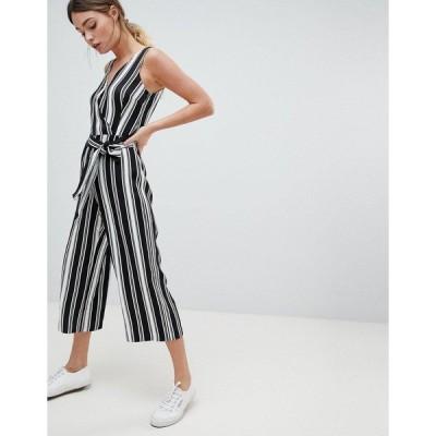 オアシス レディース ワンピース トップス Oasis Stripe Jumpsuit Black and white