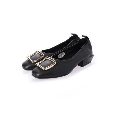 エーシーデザイン バイ アルファキュービック ALPHA CUBIC glitter ゴールドバックル付きシャーリングパンプス (ブラック)