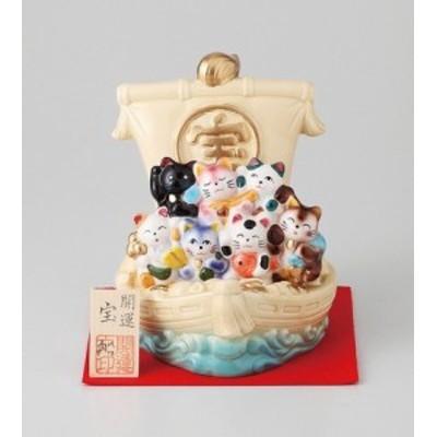 幸福を招く  楽しくお目出度い「縁起の置物」 七福猫 宝船     インテリア雑貨 オブジェ