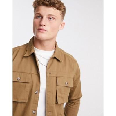 オンリーアンドサンズ メンズ シャツ トップス Only & Sons utility overshirt in tan