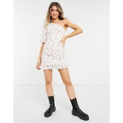 エイソス ミディドレス レディース ASOS DESIGN one shoulder ruched mini dress in floral broderie エイソス ASOS ホワイト 白