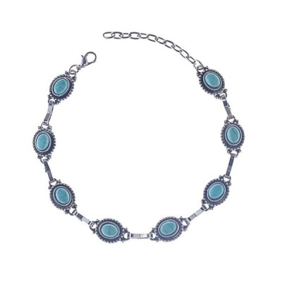 Nicute Turquoise Anklet Boho Ankle Bracelets Silver Beach Foot Jewelry