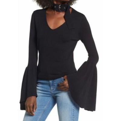 Leith ライス ファッション トップス Leith NEW Black Womens Size Large L V-Neck Choker Bell-Sleeve Sweater