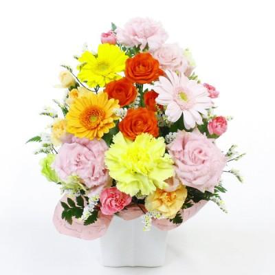 お任せアレンジメント・Cutie  色ミックス  【お誕生日、記念日、ご退職やご結婚など各種お祝いに お花の宅配ギフト】