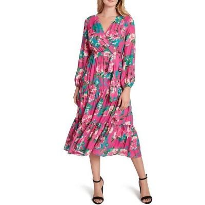タハリエーエスエル  レディース ワンピース トップス Floral Georgette Sheer Sleeve Side Tie Flounce Hem Midi Dress Shocking Pink Floral