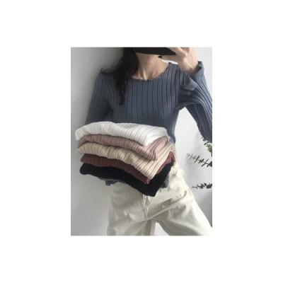 【送料無料】秋 韓国風 着やせ インナー 単一色 キクラゲなようなエッジ ニット 女   346770_A63416-2799562