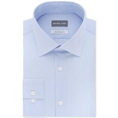 マイケルコース メンズ シャツ トップス Men's Classic/Regular Fit Airsoft Stretch Non-Iron Performance Blue Stripe Dress Shirt Fre