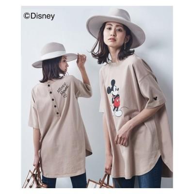 Tシャツ カットソー 大きいサイズ レディース ミッキーマウス 綿100% バックボタン L〜LL/3L〜4L/5L〜6L/7L〜8L/9L〜10L ニッセン nissen