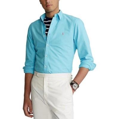 ラルフローレン メンズ シャツ トップス Solid Garment-Dye Oxford Long-Sleeve Woven Shirt French Turquoise