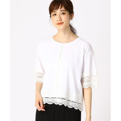 COMME CA ISM/コムサイズム レースモチーフ Tシャツ ホワイト M