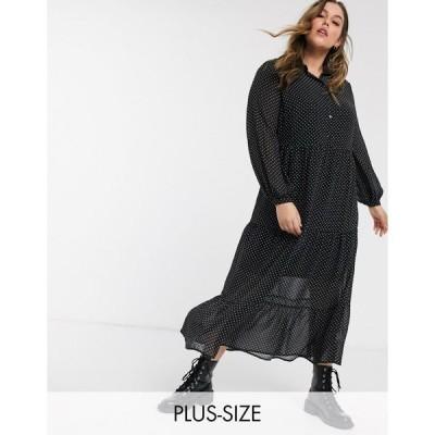 ニュールック レディース ワンピース トップス New Look Curve tiered shirt dress in black polka dot Black pattern