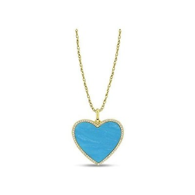 0.16 Carat Diamond and Turquoise Heart Pendant Necklace for Women in 14k Yellow Gold (H-I, I1-I2, cttw) Spring Ring by Belantina【並行輸
