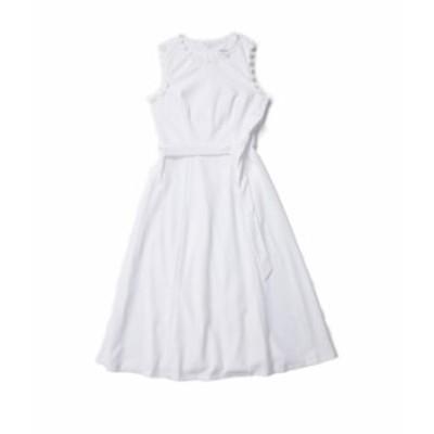 カルバンクライン レディース ワンピース トップス Belted A-Line Dress with Trim Arm and Neck Detail White