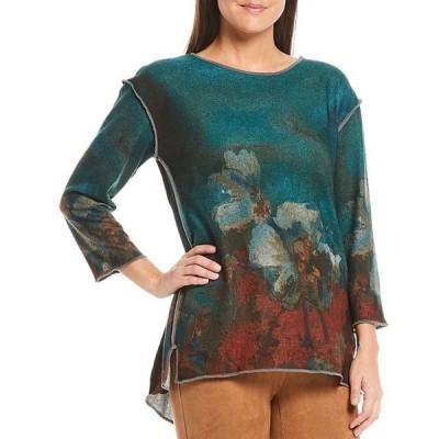 マルチプルズ レディース Tシャツ トップス Flower Abstract Print 3/4 Sleeve Hi-Low Brushed Knit Top