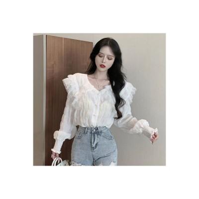 【送料無料】秋 レディース 韓国風 ファッション 西洋風 長袖シャツ 心 機 パール ブ | 364331_A63800-6698133