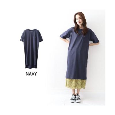 (OWNCODE/オウンコード)コットン素材Tシャツワンピース/レディース ネイビー