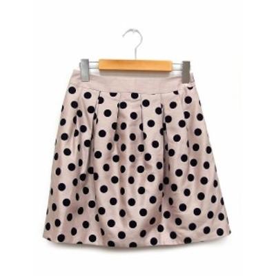 【中古】未使用 ミッシュマッシュ MISCH MASCH タグ付 スカート ミニ 水玉 ドット フロッキー S ピンク ブラック /K