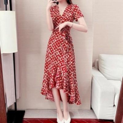 ドレス シフォンドレス ロングドレス ワンピース ロングワンピース 大きいサイズ 半袖 花柄 フィッシュテール ロング丈 レディース