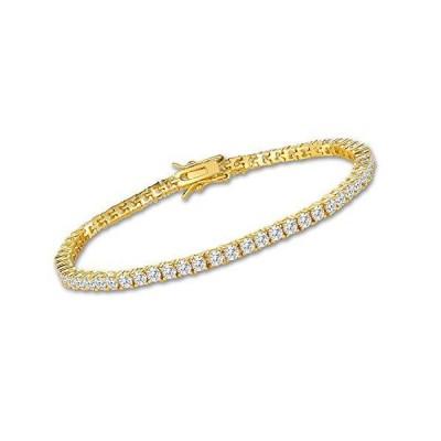 VOLUKA 3mm Cubic Zirconia Tennis Bracelet for Women 18K Gold Plated CZ Brac
