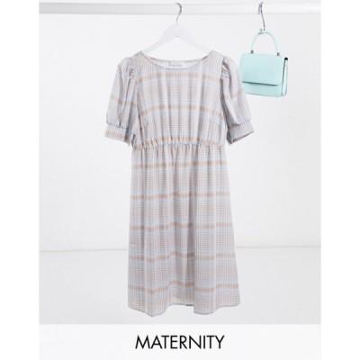 ママライシアス レディース ワンピース トップス Mamalicious Maternity smock dress with puff sleeves in blue check